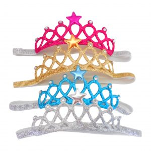 Baby Toddler Girl Glittered Crown Elastic Headband