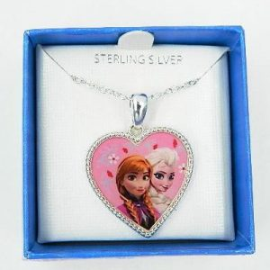 Disney Frozen Anna and Elsa Sterling Silver Heart Pendant Necklace