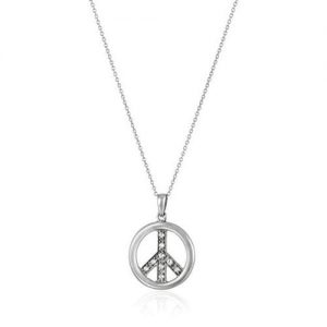 SS CZ Peace Pendant Necklace 18 inch