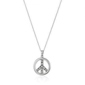 SS CZ Peace Pendant Necklace 18 inch
