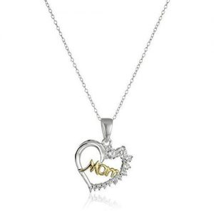 SS Two-Tone Mom Heart with CZ Pendant Necklace