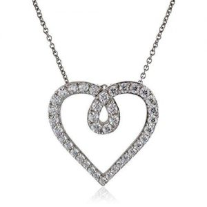SS cz heart pendant necklace 18