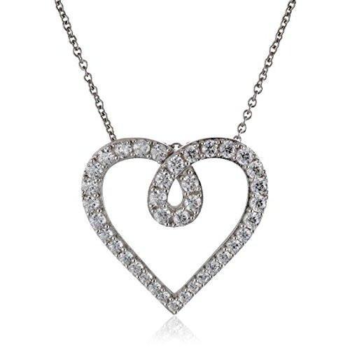 SS cz heart pendant necklace 18